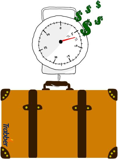 Una báscula de equipaje pesando una maleta.