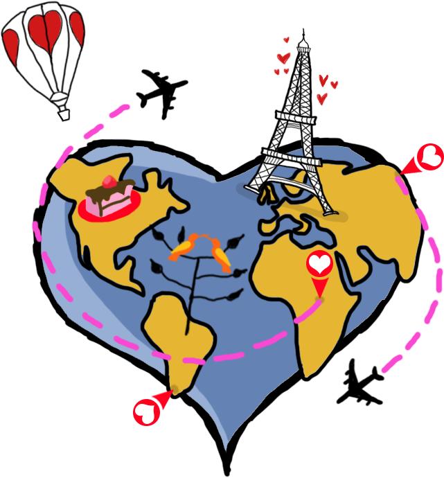 Un corazón que es como un planeta tierra. Alrededor hay monumentos, aviones y símbolos de San Valentín.