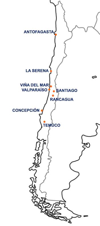 Mapa con las localidades de la Copa América 2015.