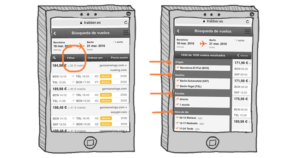 novedades trabber móvil ejemplo filtrar