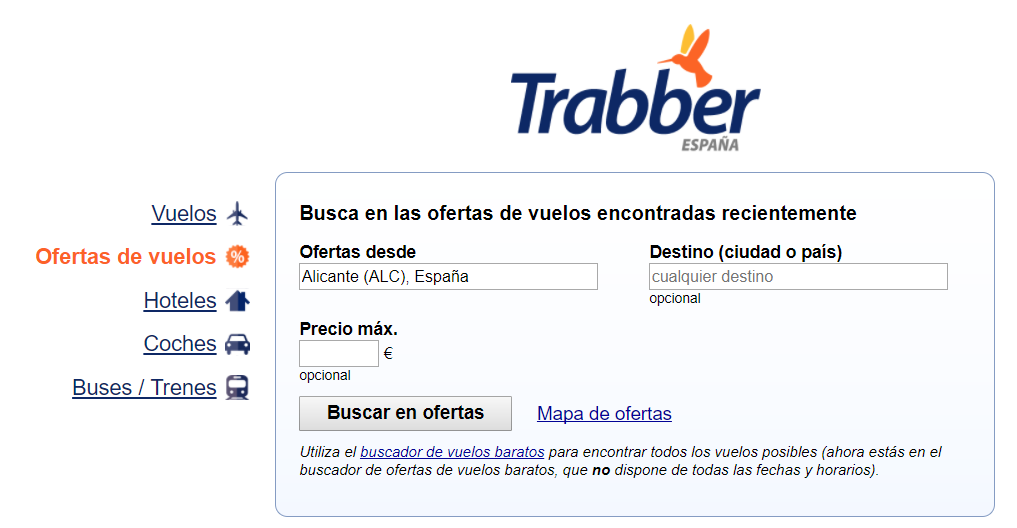 Buscador de ofertas de Trabber