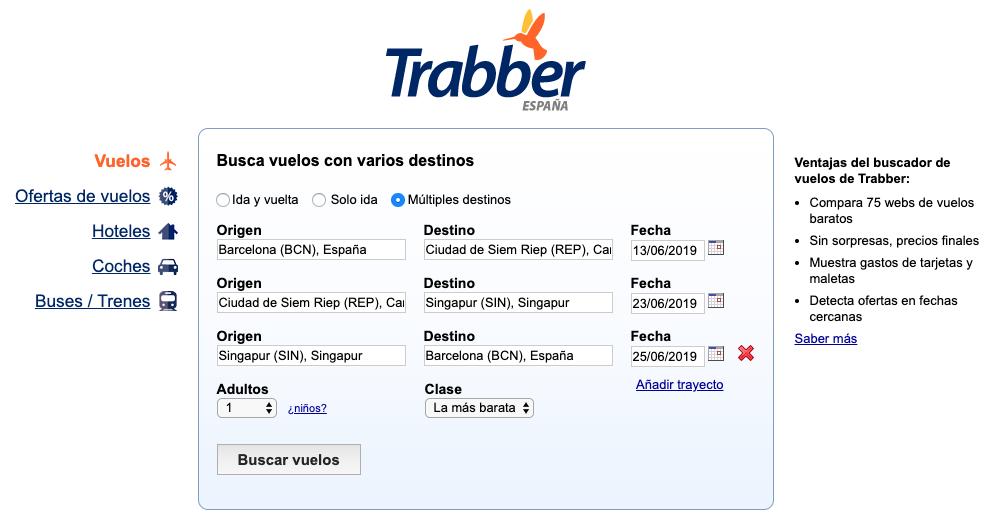 Ejemplo de búsqueda multi destinos en Trabber.
