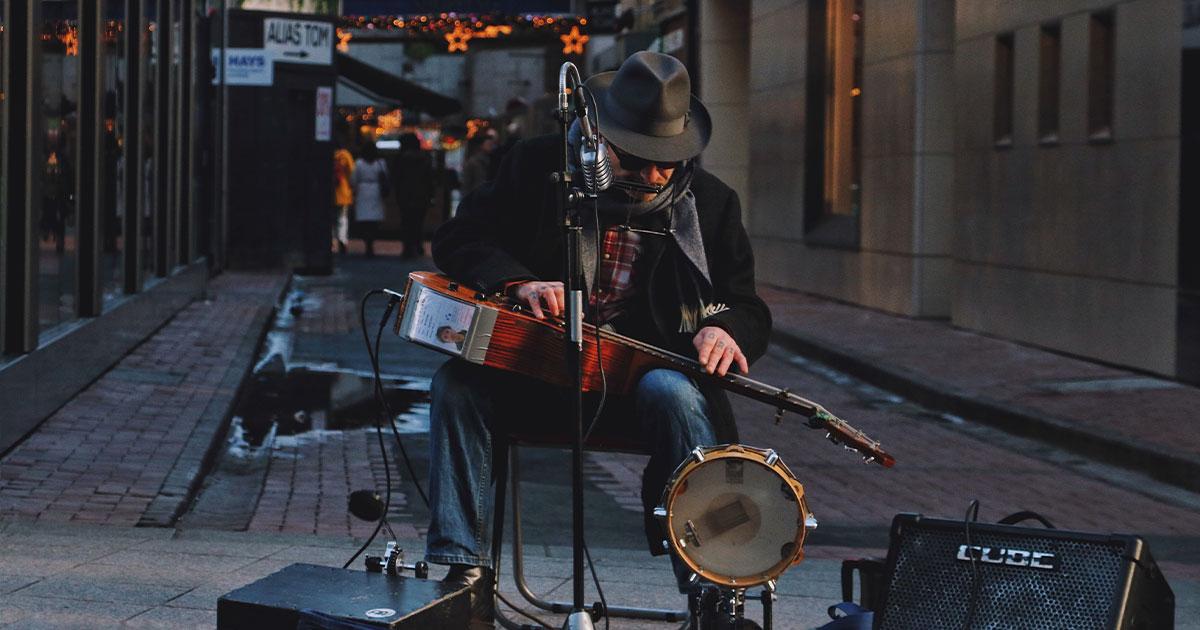 Música callejera en Dublín.