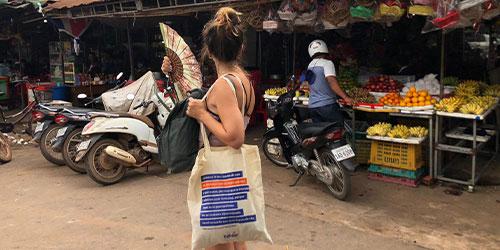 bolsa de tela de trabber en camboya